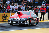 Aug. 5, 2011; Kent, WA, USA; NHRA pro stock driver V. Gaines during qualifying for the Northwest Nationals at Pacific Raceways. Mandatory Credit: Mark J. Rebilas-