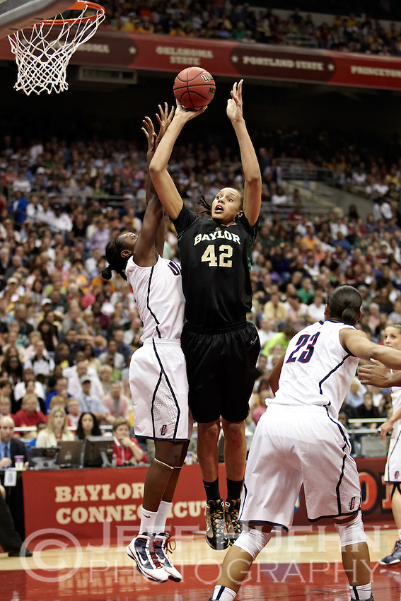 SAN ANTONIO, TX - APRIL 4, 2010: The 2010 NCAA Women's Final Four Semi-Final Number Two featuring the Baylor University Lady Bears vs. the University of Connecticut Huskies at the Alamodome. (Photo by Jeff Huehn)