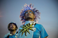 "Uruguayan fans disconsolate watch at the fan fest on Copacabana beach match between Cosa Rica and Uruguay made ​​in Fortaleza. Eventually ""La Celeste"" would be defeated by Costa Rica, 1-3. Rio de Janeiro, Brazil."
