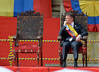 BOGOTÁ -COLOMBIA. 07-08-2014. Juan Manuel Santos, presidente reelecto de Colombia, toma posesión para su nuevo período constitucional como presidente 2014 - 2018 en las afueras del Capitolio Nacional en la ciudad de Bogotá./ Juan Manuel Santos, reelected president of Colombia, takes office to his new constitutional term as president 2014 - 18 outseide of National Capitol in Bogota city. Photo: VizzorImage/ Gabriel Aponte / Staff