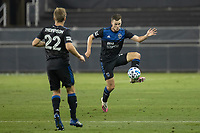 SAN JOSE, CA - OCTOBER 07: Tanner Beason #15 of the San Jose Earthquakes heads the ball during a game between Vancouver Whitecaps and San Jose Earthquakes at Eathquakes Stadium on October 07, 2020 in San Jose, California.