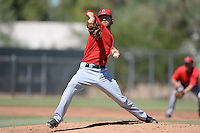 Los Angels Angels of Anaheim pitcher Hunter Green (46) delivers a pitch during an instructional league game against the Colorado Rockies on September 30, 2013 at Tempe Diablo Stadium Complex in Tempe, Arizona.  (Mike Janes/Four Seam Images)