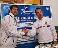 30-01-2014,Czech Republic, Ostrava, Cez Arena, Davis Cup, Czech Republic vs Netherlands, draw, city hall, first single Robin Haase (NED) vs Radek Stepanek (CHE)<br /> Photo: Henk Koster