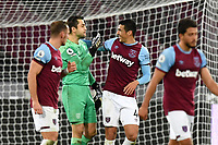 Lukasz Fabianski of West Ham United and Fabian Balbuena At the Final Whistle Applause Fan's during West Ham United vs Aston Villa, Premier League Football at The London Stadium on 30th November 2020
