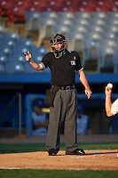 Umpire Donnie Smith during the first game of a doubleheader between the Brooklyn Cyclones and Connecticut Tigers on September 2, 2015 at Senator Thomas J. Dodd Memorial Stadium in Norwich, Connecticut.  Brooklyn defeated Connecticut 7-1.  (Mike Janes/Four Seam Images)