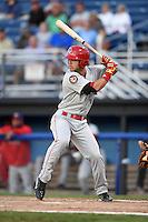 Auburn Doubledays first baseman Jose Marmolejos-Diaz (14) at bat during a game against the Batavia Muckdogs on August 27, 2014 at Dwyer Stadium in Batavia, New York.  Auburn defeated Batavia 6-4.  (Mike Janes/Four Seam Images)