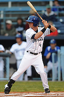 Asheville Tourists Avery Barnes #4 awaits a pitch during a game against  the Lexington Legends at McCormick Field in Asheville,  North Carolina;  April 15, 2011.  Asheville defeated Lexington 2-1.  Photo By Tony Farlow/Four Seam Images