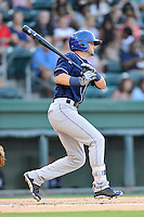 Second baseman Forrest Wall (7) of the Asheville Tourists bats in a game against the Greenville Drive on Thursday, August 13, 2015, at Fluor Field at the West End in Greenville, South Carolina. Asheville won, 8-1. (Tom Priddy/Four Seam Images)