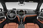 Stock photo of straight dashboard view of 2021 MINI Countryman SE-PHEV 5 Door SUV Dashboard