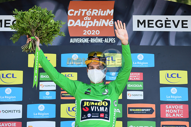 Race leader Primoz Roglic (SLO) Team Jumbo-Visma also retains the points Green Jersey at the end of Stage 4 of Criterium du Dauphine 2020, running 157km from Ugine to Megeve, France. 15th August 2020.<br /> Picture: ASO/Alex Broadway | Cyclefile<br /> All photos usage must carry mandatory copyright credit (© Cyclefile | ASO/Alex Broadway)