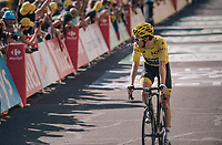 Geraint Thomas (GBR/SKY) needing to dispose of some flumes after finishing<br /> <br /> Stage 14: Saint-Paul-Trois-Châteaux > Mende (187km)<br /> <br /> 105th Tour de France 2018<br /> ©kramon