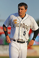 Charleston RiverDogs outfielder Dustin Fowler (5) during a game against the Hickory Crawdads at Joseph P. Riley Jr. Ballpark on May 2, 2015 in Charleston, South Carolina. Hickory defeated Charleston  4-1. (Robert Gurganus/Four Seam Images)
