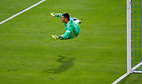 CARSON, CA - APRIL 25: Jonathan Bond #1 of the Los Angeles Galaxy dives to his left during a game between New York Red Bulls and Los Angeles Galaxy at Dignity Health Sports Park on April 25, 2021 in Carson, California.