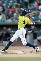 Shortstop Ronny Mauricio (2) of the Columbia Fireflies bats in a game against the Charleston RiverDogs on Saturday, April 6, 2019, at Segra Park in Columbia, South Carolina. Columbia won, 3-2. (Tom Priddy/Four Seam Images)