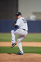 New York Yankees relief pitcher Jonathan Holder (56) delivers a pitch during a Grapefruit League Spring Training game against the Toronto Blue Jays on February 25, 2019 at George M. Steinbrenner Field in Tampa, Florida.  Yankees defeated the Blue Jays 3-0.  (Mike Janes/Four Seam Images)