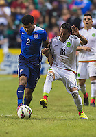 Mexico's  midfielder Carlos Esquivel (18) and Mexico's  defender Francisco Rodriguez (2) challenge for possession during an international friendly at the Alamodome, Wednesday, April 15, 2015 in San Antonio, Tex. USA defeated Mexico 2-0. (Mo Khursheed/TFV Media via AP Images)