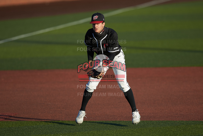 Western Kentucky Hilltoppers third baseman Matthew Meyer (2) on defense against the Valparaiso Crusaders at Nick Denes Field on March 19, 2021 in Bowling Green, Kentucky. (Brian Westerholt/Four Seam Images)