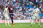 Eibar's Mauro dos Santos and Real Madrid's Cristiano Ronaldo during the match of La Liga between Real Madrid and SD Eibar at Santiago Bernabeu Stadium in Madrid. October 02, 2016. (ALTERPHOTOS/Rodrigo Jimenez)