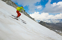 Snow conditions are not always easy in summer. Pizzo Lucendro, Uri, Switzerland, July 2018.