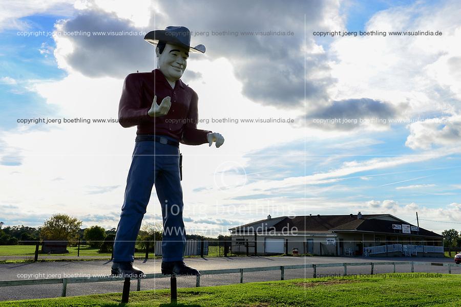 USA, New Jersey, large cowboy sculpture