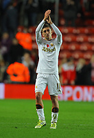 Saturday 10 November 2012<br /> Pictured: Pablo Hernandez of Swansea thanks supporters at the end of the game<br /> Re: Barclay's Premier League, Southampton FC v Swansea City FC at St Mary's Stadium, Southampton, UK.
