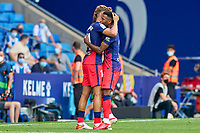 12th September 2021: Barcelona, Spain:  Thomas Lemar of Atletico de Madrid celebrates his goal in the 9th minute of extra time for the win during the Liga match between RCD Espanyol and Atletico de Madrid at RCDE Stadium in Cornella, Spain..