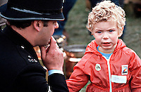 Police officer with a lost child. The officer has knelt down to try and help the boy who is crying for his mum ! ..© SHOUT. THIS PICTURE MUST ONLY BE USED TO ILLUSTRATE THE EMERGENCY SERVICES IN A POSITIVE MANNER. CONTACT JOHN CALLAN. Exact date unknown.john@shoutpictures.com.www.shoutpictures.com.