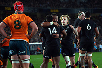 NZ's George Bowers congratulates Sevu Reece on his try during the Bledisloe Cup rugby match between the New Zealand All Blacks and Australia Wallabies at Eden Park in Auckland, New Zealand on Saturday, 7 August 2021. Photo: Dave Lintott / lintottphoto.co.nz