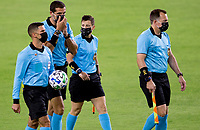 LOS ANGELES, CA - SEPTEMBER 23: MLS Referee's during a game between Vancouver Whitecaps and Los Angeles FC at Banc of California Stadium on September 23, 2020 in Los Angeles, California.