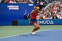 11th September 2021: Billie Jean King Tennis Centre, New York, USA; US Open Tennis, womens singles final. Emma Raducanu (GBR) celebrates as she beats Canada's Leylah Fernandez in 2 sets to win the title.