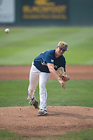 Helena Brewers starting pitcher Justin Bullock (25) follows through on his delivery during a Pioneer League game against the Grand Junction Rockies at Kindrick Legion Field on August 19, 2018 in Helena, Montana. The Grand Junction Rockies defeated the Helena Brewers by a score of 6-1. (Zachary Lucy/Four Seam Images)
