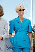 """CANNES, FRANCE - JULY 13: British actress Tilda Swinton at photocall for the film """"The French Dispatch"""" at the 74th annual Cannes Film Festival in Cannes, France on July 13, 2021 <br /> CAP/GOL<br /> ©GOL/Capital Pictures"""