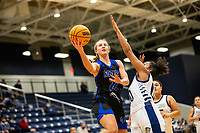 Kate Miller (22) of Rogers goes up for layup against Ivy Johnson (0) of Bentonville West at Wolverine Arena, Centerton,  AR, Tuesday, January 12, 2021 / Special to NWA Democrat-Gazette/ David Beach