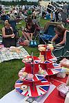 Royal Ascot horse racing Berkshire. Picnic food cake stand, Union Jack design. 2016