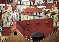 Historic PRAGUE, as seen from the tower of OLD TOWN HALL, is largely intact as it survived WWII - CZECH REPUBLIC