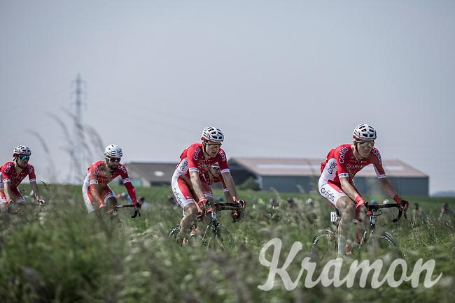 Dimitri Claeys (BEL/Cofidis) setting the pace.<br /> <br /> <br /> GP Marcel Kint 2018 <br /> Kortrijk > Zwevegem 174.8km (BELGIUM)