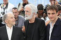 JEAN-LOUIS TRINTIGNANT, DIRECTOR MICHAEL HANEKE AND FRANZ HARDUIN - PHOTOCALL OF THE FILM 'HAPPY END' AT THE 70TH FESTIVAL OF CANNES 2017