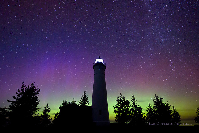 Crisp Point Lighthouse Milky Way and Aurora
