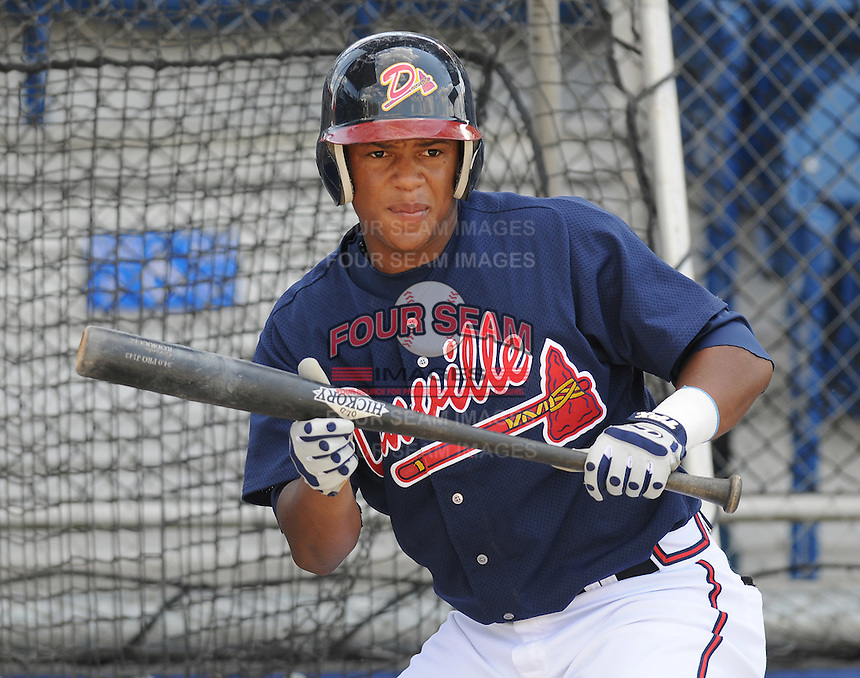 June 18, 2008:  Infielder Joel Campusano (32) of the Danville Braves, rookie Appalachian League affiliate of the Atlanta Braves, prior to a game against the Burlington Royals at Dan Daniel Memorial Park in Danville, Va. Photo by:  Tom Priddy/Four Seam Images