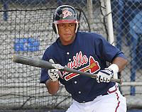 June 18, 2008:  Infielder Joel Campusano (32) of the Danville Braves, rookie Appalachian League affiliate of the Atlanta Braves, prior to a game against the Burlington Royals at Dan Daniel Memorial Park in Danville, Va. Photo by:  Tom Priddy/Four Seam Images