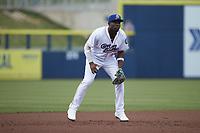 Kannapolis Cannon Ballers third baseman Bryan Ramos (10) on defense against the Columbia Fireflies at Atrium Health Ballpark on May 18, 2021 in Kannapolis, North Carolina. (Brian Westerholt/Four Seam Images)
