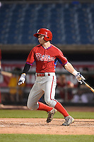Ryan McKenna (18) of St. Thomas Aquinas in Berwick, Maine playing for the Philadelphia Phillies scout team during the East Coast Pro Showcase on July 31, 2014 at NBT Bank Stadium in Syracuse, New York.  (Mike Janes/Four Seam Images)