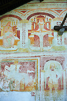 Religious murals by Baschenis family ( circa 1493) on the exterior of the Gothic Church of San Antonio Abate,  Pelugo, Province of Trento, Italy