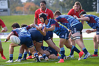 Dayton Iobu passes from a ruck during the 2021 Bunnings Super Rugby Aotearoa Under-20 rugby match between the Barbarians and Blues at Owen Delaney Park in Taupo, New Zealand on Tuesday, 14 April 2020. Photo: Dave Lintott / lintottphoto.co.nz