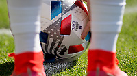 LOS ANGELES, CA - APRIL 17: MLS ball during a game between Austin FC and Los Angeles FC at Banc of California Stadium on April 17, 2021 in Los Angeles, California.