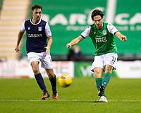 15th November 2020; Easter Road, Edinburgh, Scotland; Scottish League Cup Football, Hibernian versus Dundee FC; Joe Newell of Hibernian shoots past Shaun Byrne of Dundee