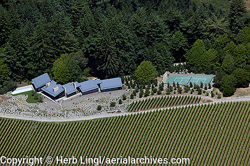 Aerial photograph Kistler Vineyards Sonoma Coast Pinot Noir vineyards