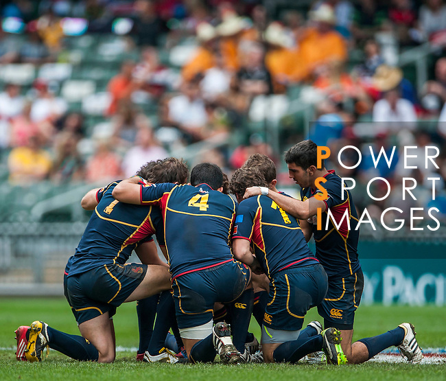 Argentina vs Spain on Bowl Quarter Final during the Cathay Pacific / HSBC Hong Kong Sevens at the Hong Kong Stadium on 30 March 2014 in Hong Kong, China. Photo by Juan Flor / Power Sport Images