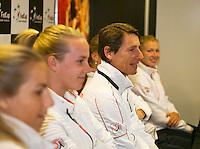The Netherlands, Den Bosch, 16.04.2014. Fed Cup Netherlands-Japan, Press-conference Netherlands team, l.t.r.: Arantxa Rus, Richel Hogenkamp, captain Paul Haarhuis, Kiki Bertens, and Michaella Krajicek.<br /> Photo:Tennisimages/Henk Koster