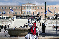 Pictured: An actor dressed in period costume takes part in a video shot in Syntagma Square, Athens, Greece. Wednesday 24 March 2021<br /> Re: Preparations are under way to celebrate the 200 anniversary from the beginning of the Greek revolution of 1821, after an almost 400 year rule by the Ottoman empire, Athens, Greece.
